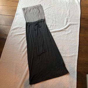 Cotton strapless maxi dress